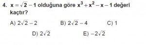 Mezun Matematik kazanım Test 12 soru 4