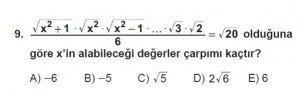 Mezun Matematik kazanım Test 12 soru 9