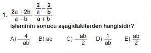 Mezun Matematik kazanım Test 13 soru 1