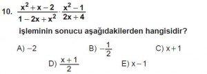 Mezun Matematik kazanım Test 13 soru 10