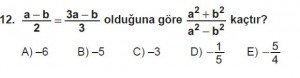 Mezun Matematik kazanım Test 13 soru 12