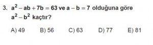 Mezun Matematik kazanım Test 13 soru 3