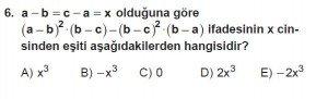 Mezun Matematik kazanım Test 13 soru 6