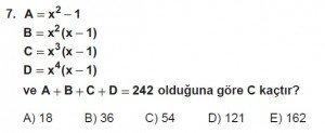 Mezun Matematik kazanım Test 13 soru 7