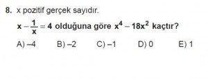 Mezun Matematik kazanım Test 13 soru 8