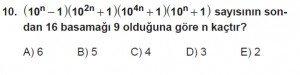 Mezun Matematik kazanım Test 14 soru 10