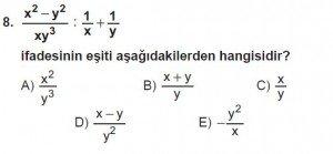 Mezun Matematik kazanım Test 14 soru 8