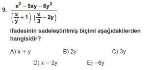 Mezun Matematik kazanım Test 14 soru 9