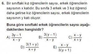 Mezun Matematik kazanım Test 18 soru 6