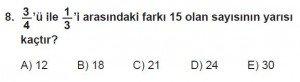 Mezun Matematik kazanım Test 18 soru 8