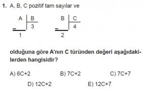 Mezun Matematik kazanım Test 3 soru 1