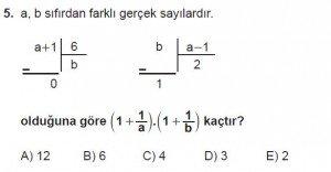 Mezun Matematik kazanım Test 3 soru 5