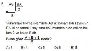 Mezun Matematik kazanım Test 3 soru 6