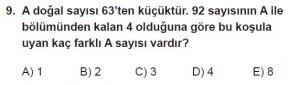 Mezun Matematik kazanım Test 3 soru 9