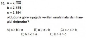 Mezun Matematik kazanım Test 6 soru 10