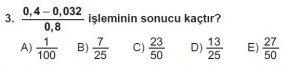 Mezun Matematik kazanım Test 6 soru 3
