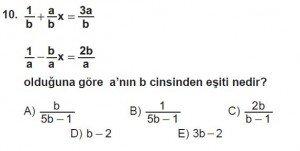 Mezun Matematik kazanım Test 7 soru 10