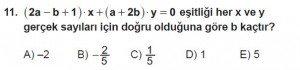 Mezun Matematik kazanım Test 7 soru 11