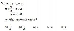 Mezun Matematik kazanım Test 7 soru 9