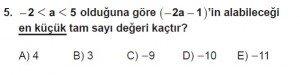 Mezun Matematik kazanım Test 8 soru 5