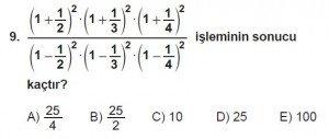 Mezun Matematik kazanım Test 9 soru 9