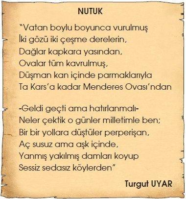 Turgut Uyar Nutuk Şiiri