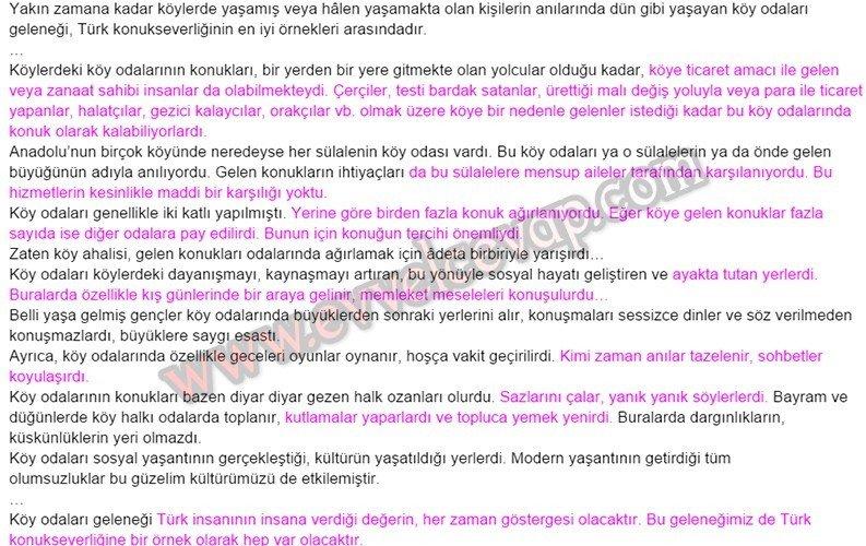 Türk Konukseverliğine Tarihsel Bir Örnek Köy Odaları