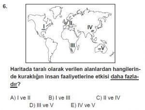 12.lar Sınıf Coğrafya Test 1 Soru-6