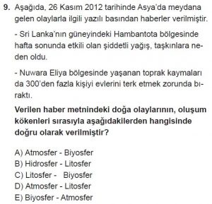 12.lar Sınıf Coğrafya Test 1 Soru-9