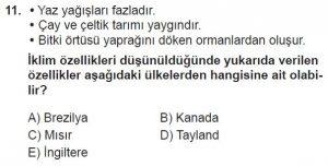12.lar Sınıf Coğrafya Test 12 Soru-11