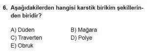 12.lar Sınıf Coğrafya Test 16 Soru-6