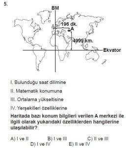 12.lar Sınıf Coğrafya Test 2 Soru-5