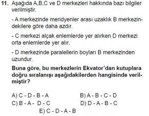 12.lar Sınıf Coğrafya Test 4 Soru-11