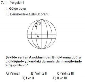 12.lar Sınıf Coğrafya Test 4 Soru-7