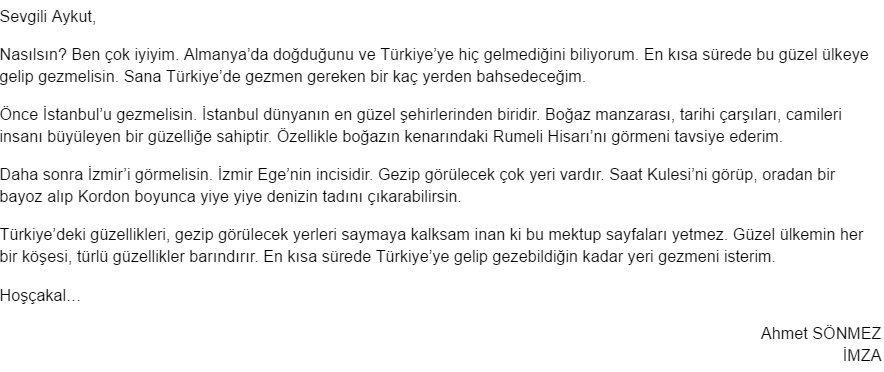 Aziz Türkiye'm 10. Etkinlik Cevabı