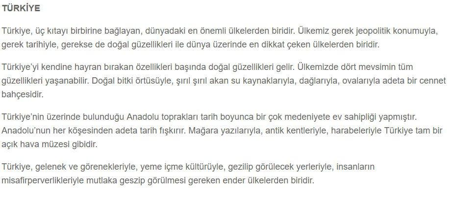 Güzel Yurdum Türkiyem 7. Etkinlik Cevabı