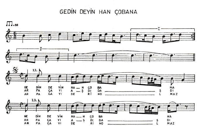 Arpaçayı Türküsünün Notaları