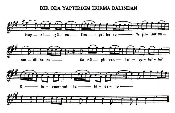 Bir Oda Yaptırdım Hurma Dalından Türküsünün Hikayesinin Notası