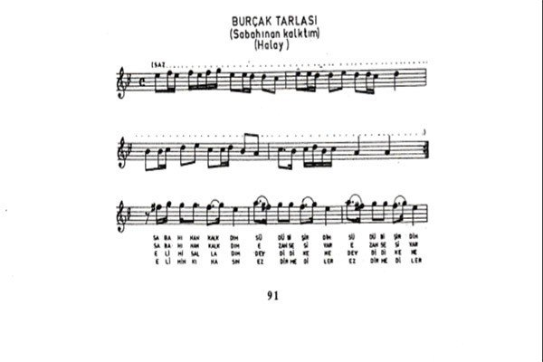 Burçak Tarlası Türküsünün Notaları2