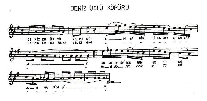 Deniz Üstü Köpürü Türküsünün Hikayesinin Notaları