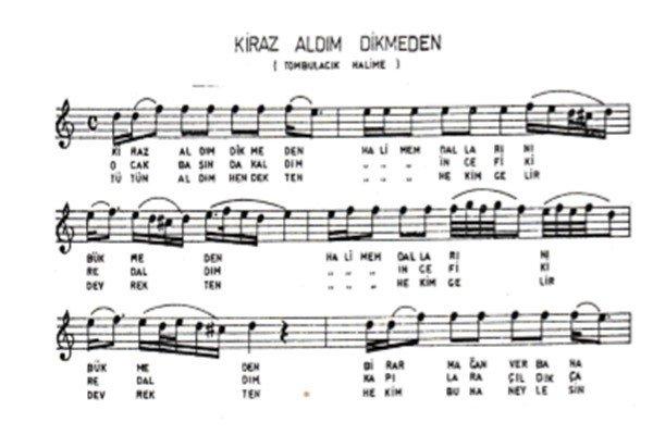 Halime'm Türküsünün Notaları1