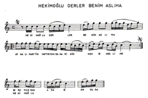 Hekimoğlu Türküsünün Notaları