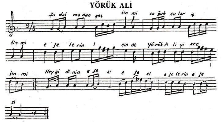 Yörük Ali Türküsünün Hikayesinin Notaları
