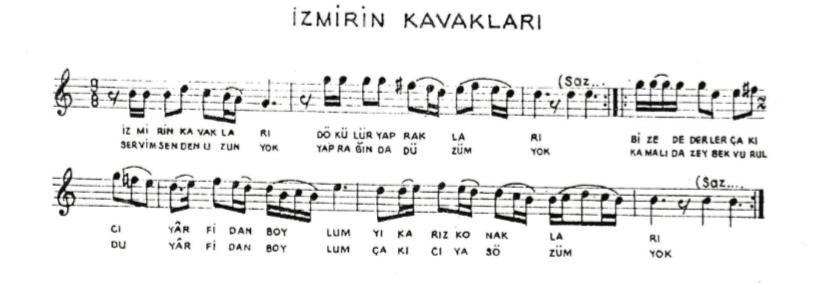 Çakıcı Efe Türküsü Notaları