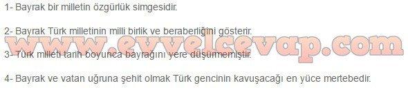 7. sınıf Türkçe Meram Yayınları Bayrak 6. Etkinlik