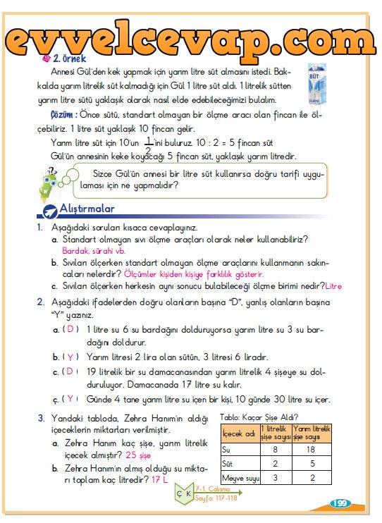 3 Sınıf Berkay Yayınları Matematik Ders Kitabı Sayfa 199 Cevabı