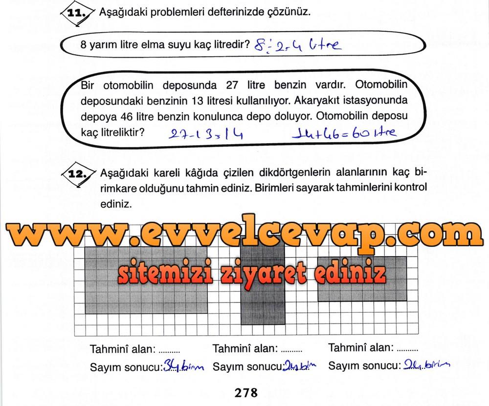 3. Sınıf Ada Yayıncılık Matematik Ders Kitabı Sayfa 278 Cevabı