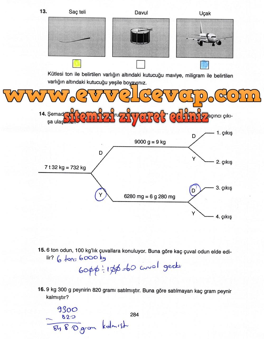 4. Sınıf Ata Yayıncılık Matematik Ders Kitabı Sayfa 284 Cevabı