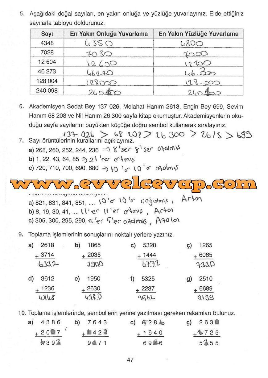4 Sınıf Ata Yayıncılık Matematik Ders Kitabı Sayfa 47 Cevabı