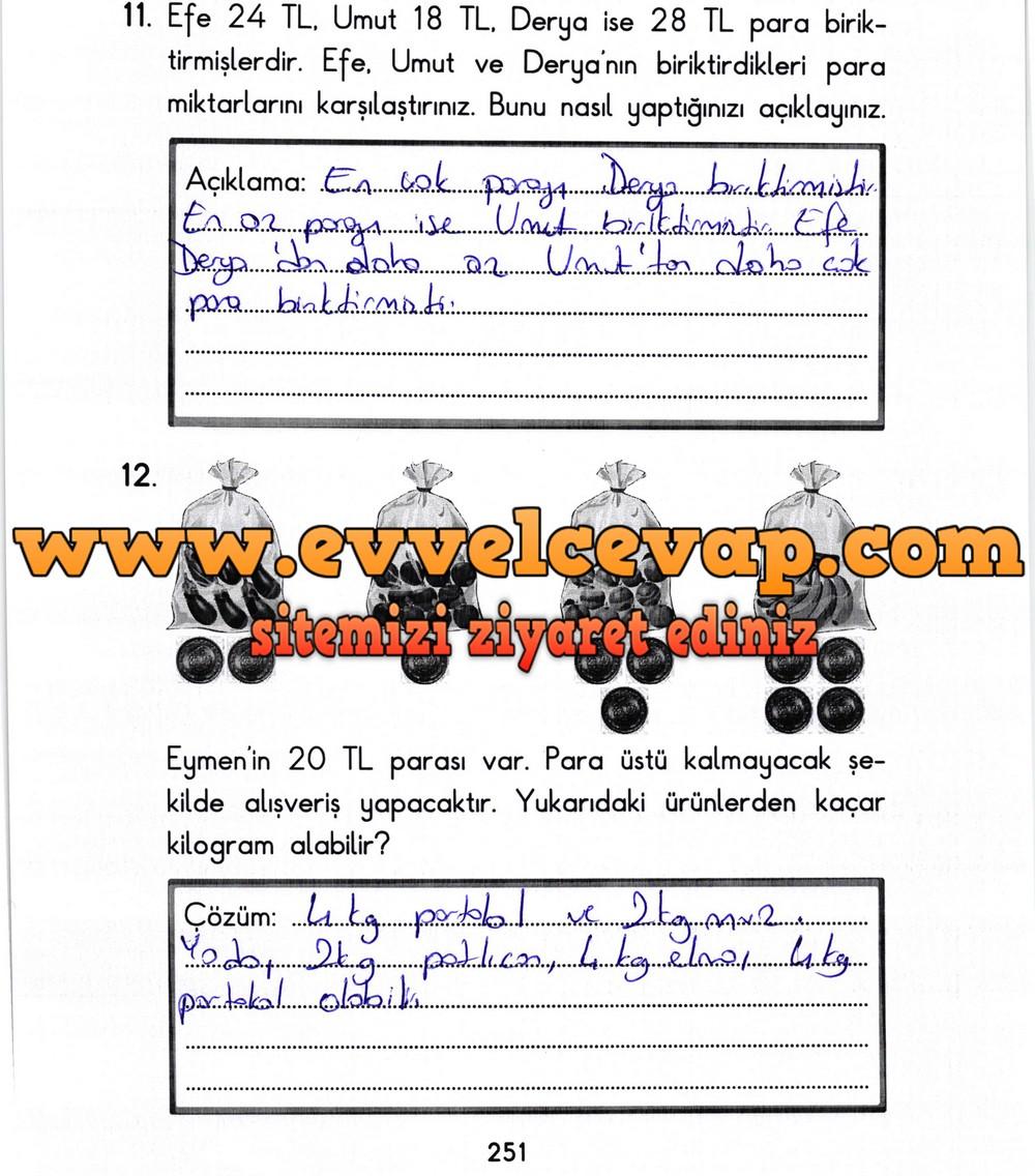 2. Sınıf Başak Yayınları Matematik Ders Kitabı Sayfa 251 Cevabı
